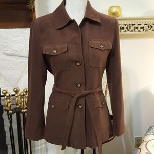 TALBOTS FAUX BROWN SUEDE JACKET SIZE 6P